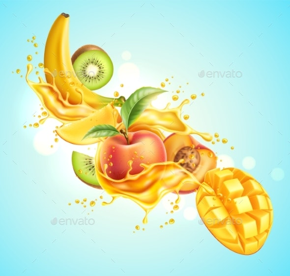 Vector Realistic Tropical Fruit in Juicy Explosion - Food Objects