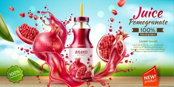 Vector Realistic Pomegranate Juice Bottle Splash - Food Objects