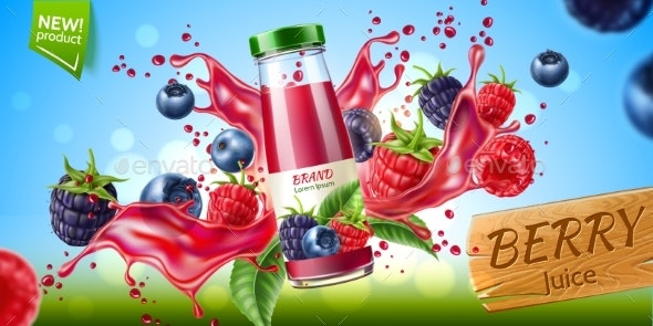 Vector Forest Berry Mix Juicy Splash Motion - Food Objects