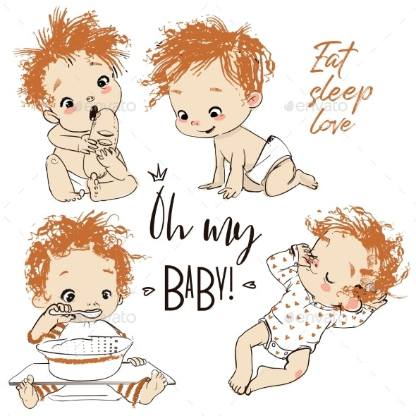Set with Cartoon Baby Boy - People Characters