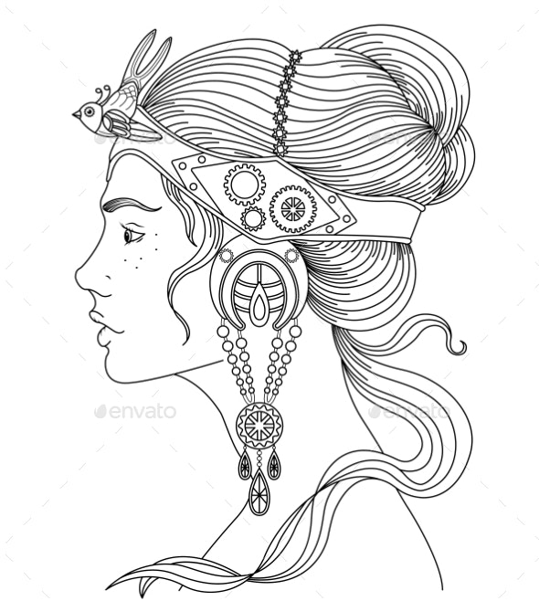 Profile of a Girl in Steampunk Style - Miscellaneous Vectors