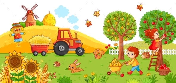 Vector Illustration on a Agricultural Theme - Animals Characters
