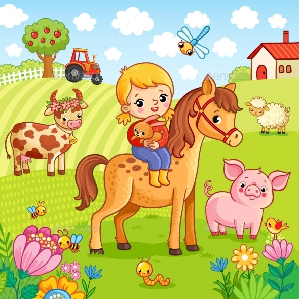 The Girl Sits on a Horse and Holds a Rabbit - Animals Characters