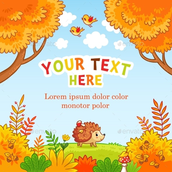 Vector Greeting Card with Place for Your Text - Animals Characters
