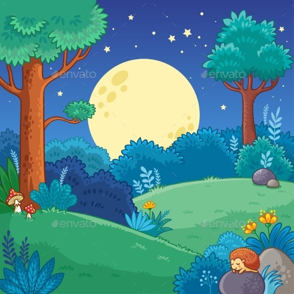 Vector Illustration with Trees and Moon in Cartoon - Animals Characters