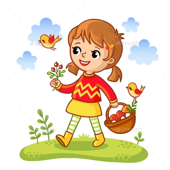 The Girl Collects Mushrooms in a Basket - People Characters