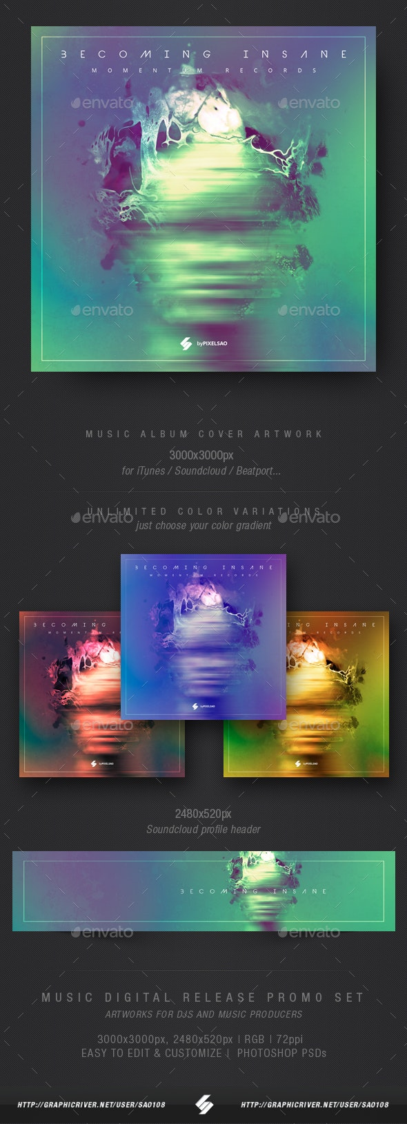 Becoming Insane - Music Album Cover Artwork Template - Miscellaneous Social Media