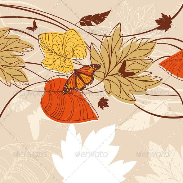 Floral Autumn Card - Backgrounds Decorative