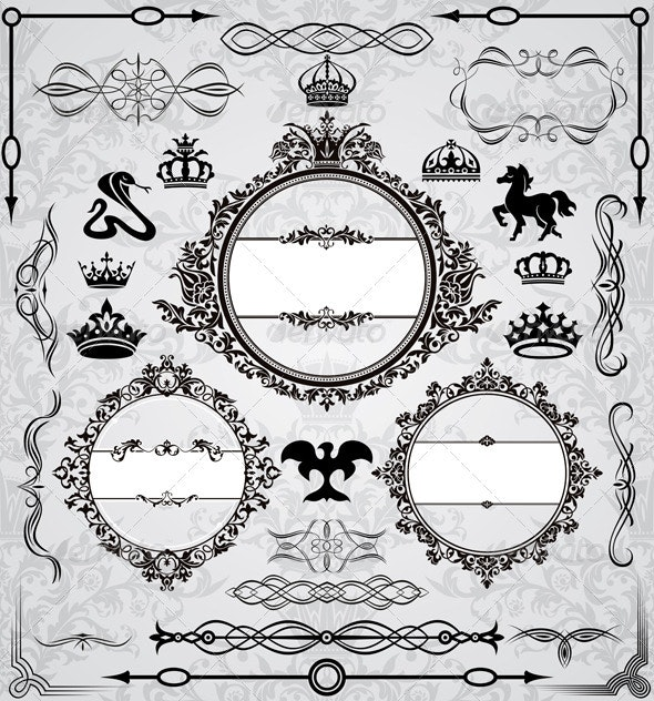 Set Of Vintage Design Elements - Borders Decorative