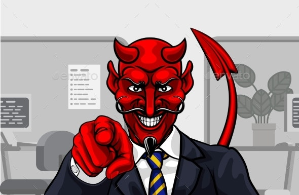 Devil Evil Businessman in Suit Pointing - Miscellaneous Characters