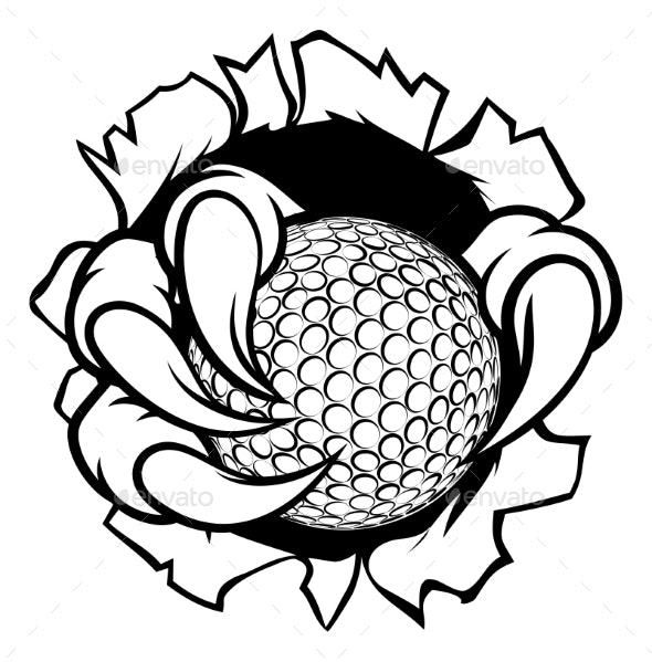 Golf Ball Eagle Claw Talons Tearing Background - Sports/Activity Conceptual