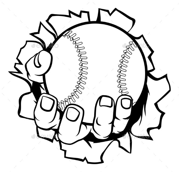 Baseball Hand Ripping Background - Sports/Activity Conceptual