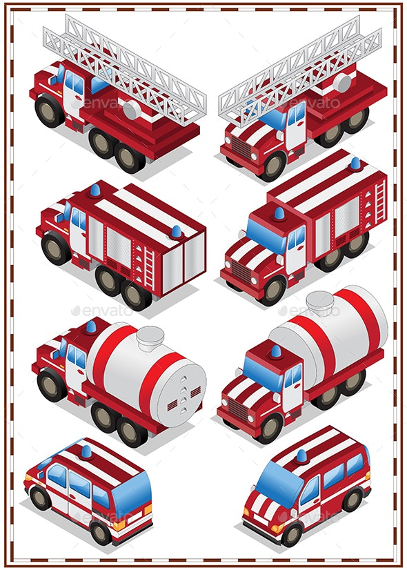 Set of Fire Trucks - Man-made Objects Objects
