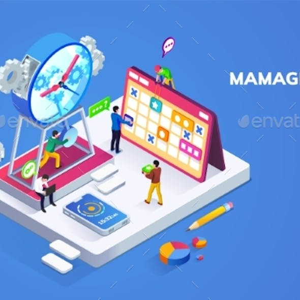 Isometric Banner for Time Management or Schedule