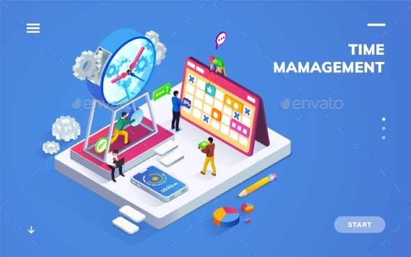 Isometric Banner for Time Management or Schedule - Miscellaneous Vectors