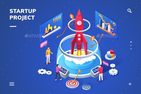 Isometric Landing Page for Startup Project - Miscellaneous Vectors