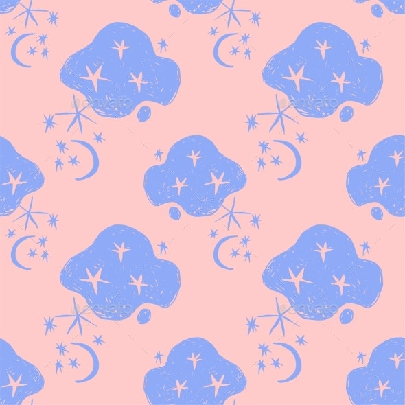 Naive Nigth Sky Abstract Seamless Pattern - Backgrounds Decorative