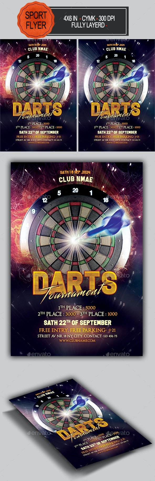 Darts Night Flyer Template - Sports Events