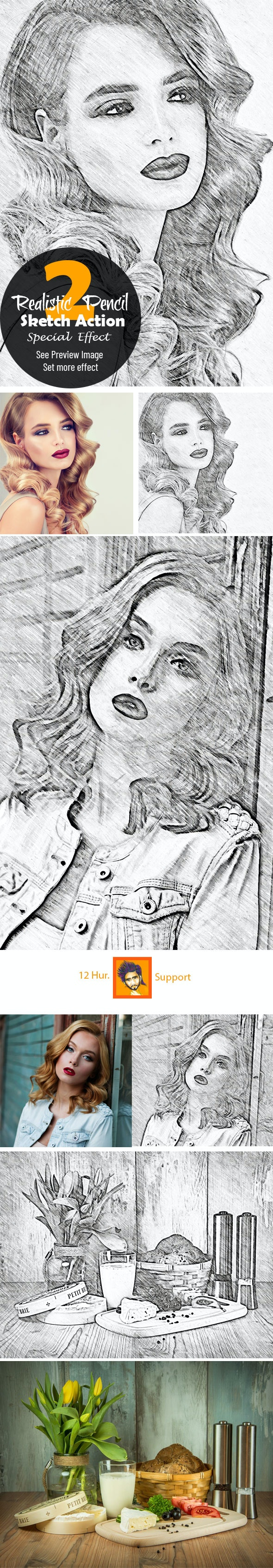 Realistic Pencil Sketch Action 2 - Photo Effects Actions