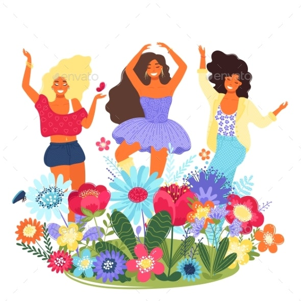 Vector Template with Happy Women and Flowers - People Characters