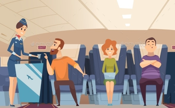 Avia Passengers Boarding Stewardess Offers Food - People Characters