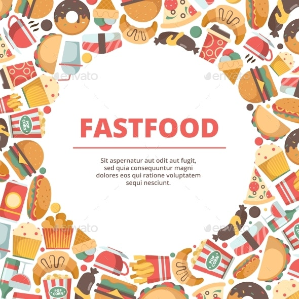 Fast Food Circle Background - Food Objects