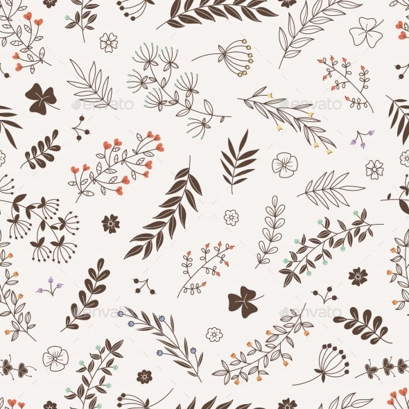 Doodle Floral Branches Seamless Pattern Vector - Backgrounds Decorative