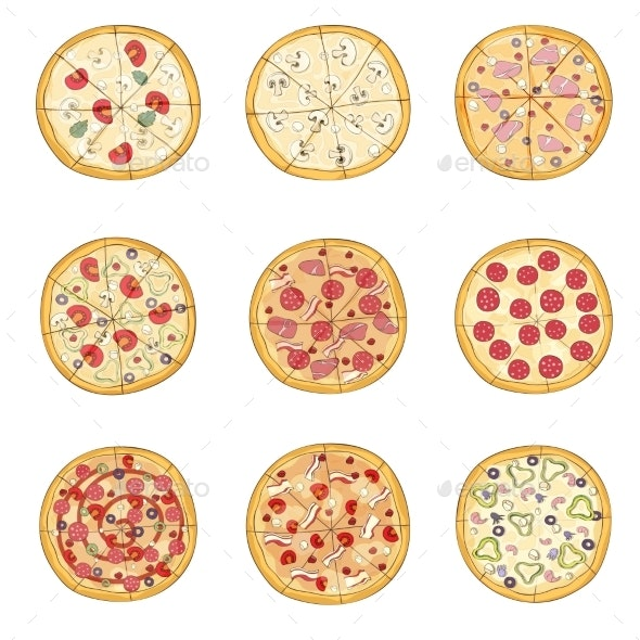 Set of Pizzas with Various Fillings - Food Objects