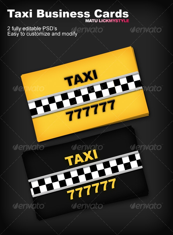 Taxi Business Cards - Industry Specific Business Cards