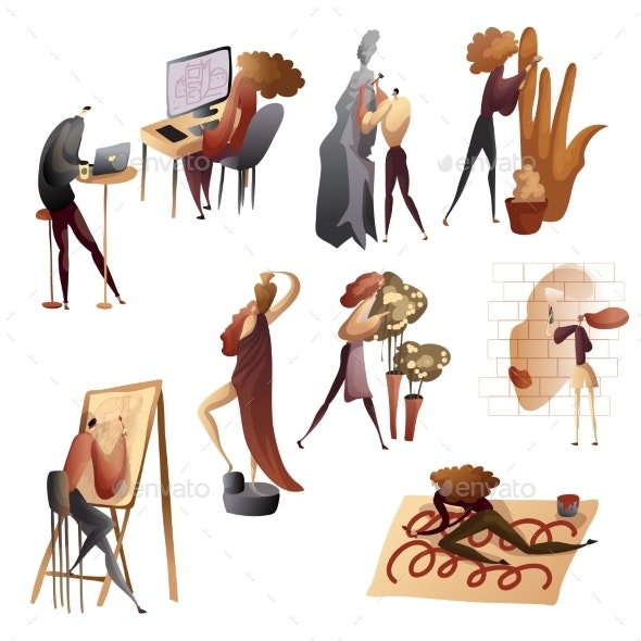 Set of Images of People in the Creative Process - People Characters
