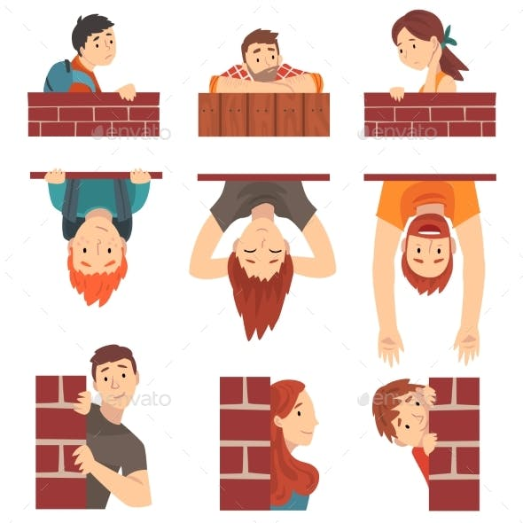 People Hiding Behind Brick Wall and Peeping Set