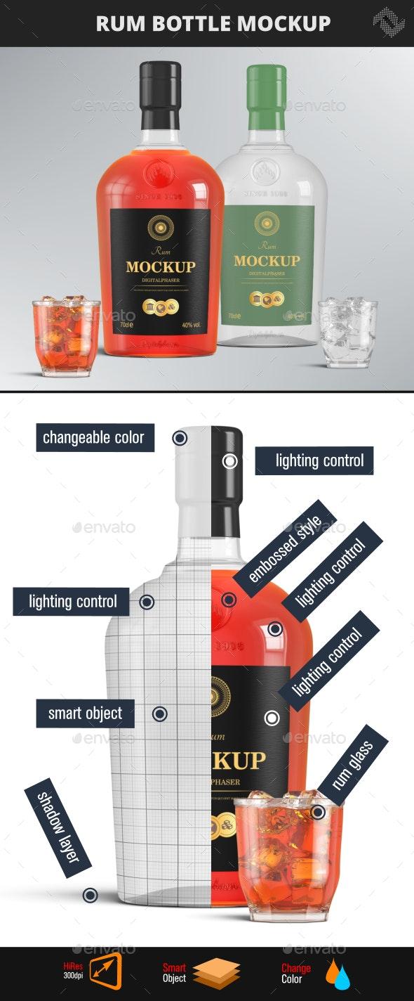 Brandy Vodka Rum Bottle Mockup - Food and Drink Packaging