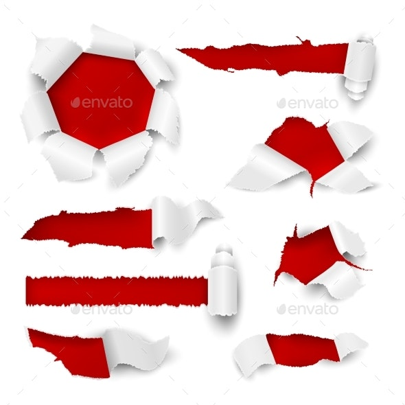 Paper Hole Realistic Torn Edge Rip White Sheet - Man-made Objects Objects