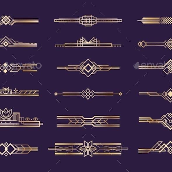 Art Deco Set Vintage 1920s Golden Ornament