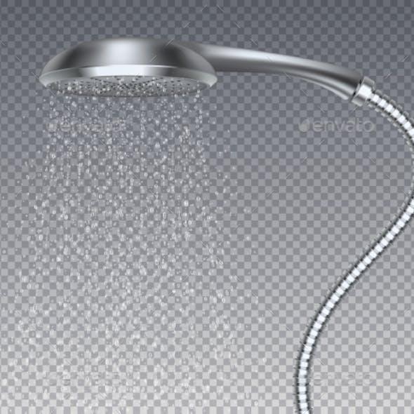 Bathroom Metal Head Realistic Water Rain Shower