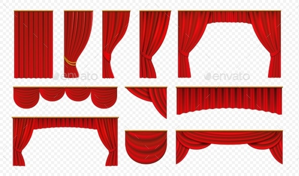 Realistic Red Curtains - Man-made Objects Objects