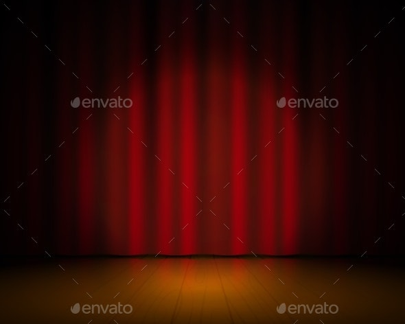 Realistic Theater Stage - Backgrounds Decorative