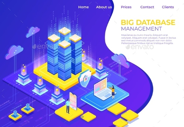 Database Isometric Concept - Concepts Business