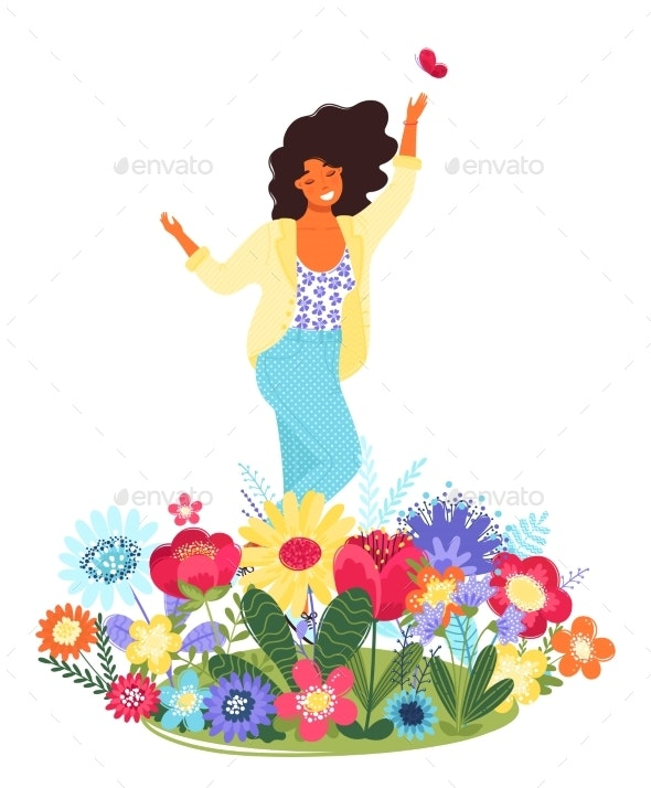 Vector Template with Happy Woman and Flowers - People Characters