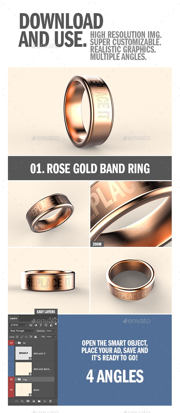 Rose Gold Band Ring Mock-up - Objects 3D Renders