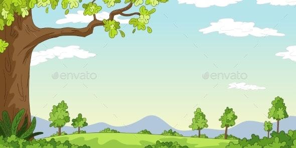 Cartoon Landscape Background - Flowers & Plants Nature