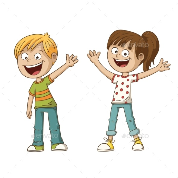 Two Smiling Kids - People Characters