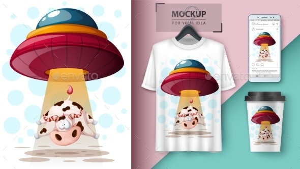 UFO and Cow - Animals Characters