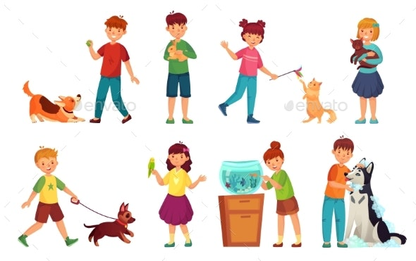 Kids with Pets - People Characters