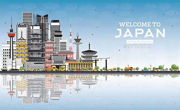 Welcome to Japan Skyline with Gray Buildings, Blue Sky and Reflections. - Buildings Objects