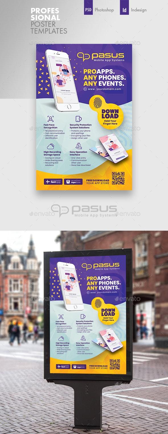Mobile App Poster Templates - Signage Print Templates
