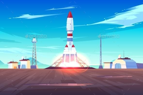 Modern Spacecraft Lunching Cartoon Vector Concept - Technology Conceptual