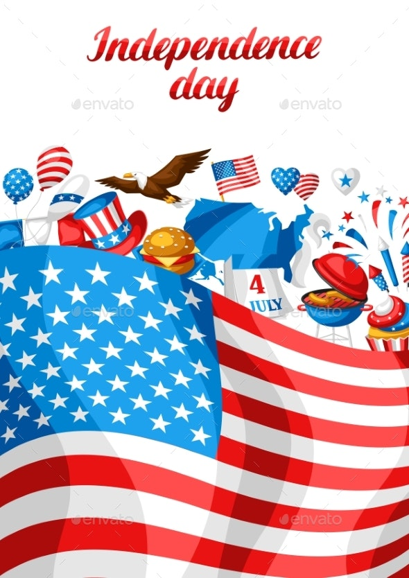 Fourth of July Independence Day Greeting Card. - Seasons/Holidays Conceptual