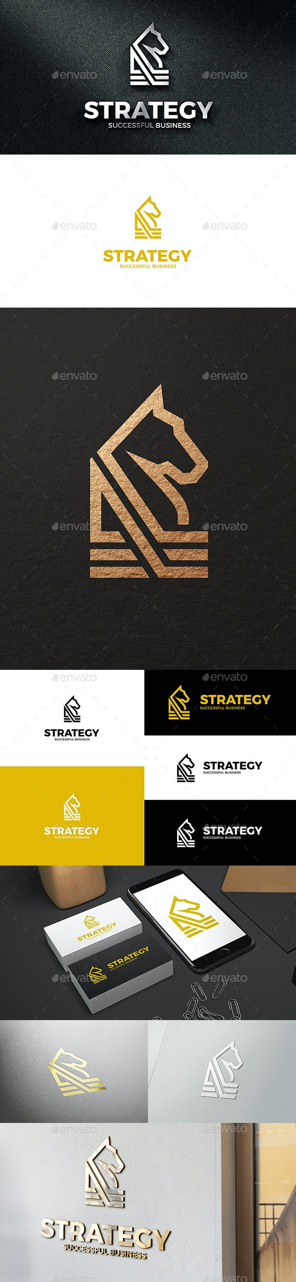 Strategy - Abstract Horse Clean Business Logo - Symbols Logo Templates