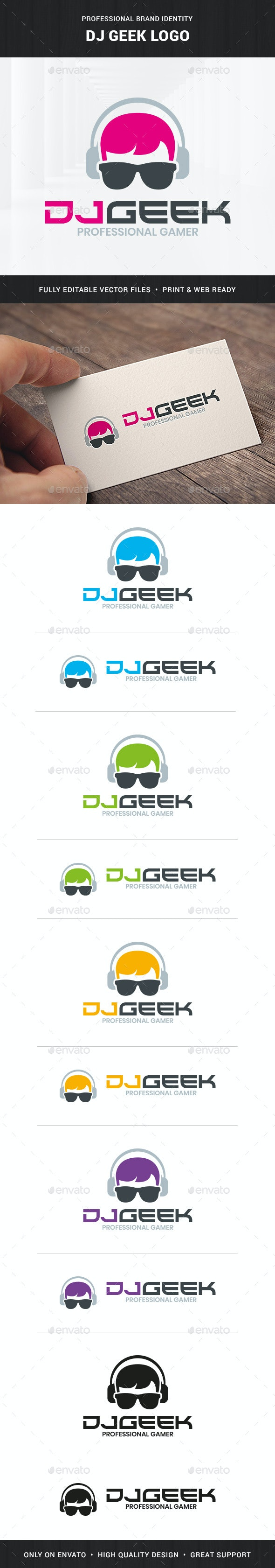 DJ Geek Logo Template - Humans Logo Templates